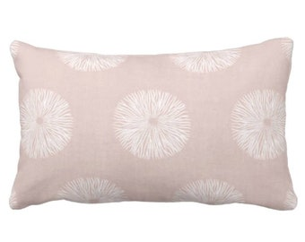 """Sea Urchin Print Throw Pillow or Cover, Blush/White 14 x 20"""" Lumbar Pillows or Covers, Dusty Pink Abstract Geometric Pattern"""