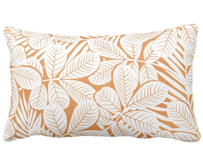 "Modern Leaves Throw Pillow or Cover, Orange & White Print 20 x 14"" Lumbar Pillows or Covers, Burnt/Mango Retro Tropical Print/Pattern"