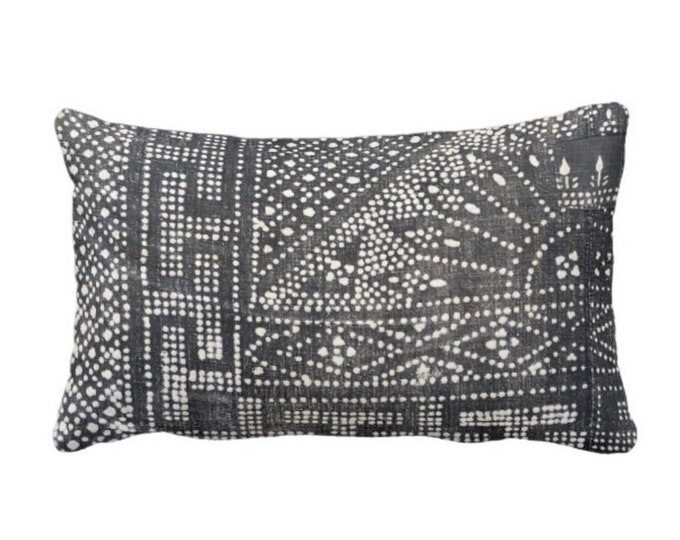 """Gray Batik Printed Throw Pillow or Cover, Indigo 14 x 20"""" Lumbar Pillows or Covers, Vintage Chinese Miao Hill Tribe Textile Print"""
