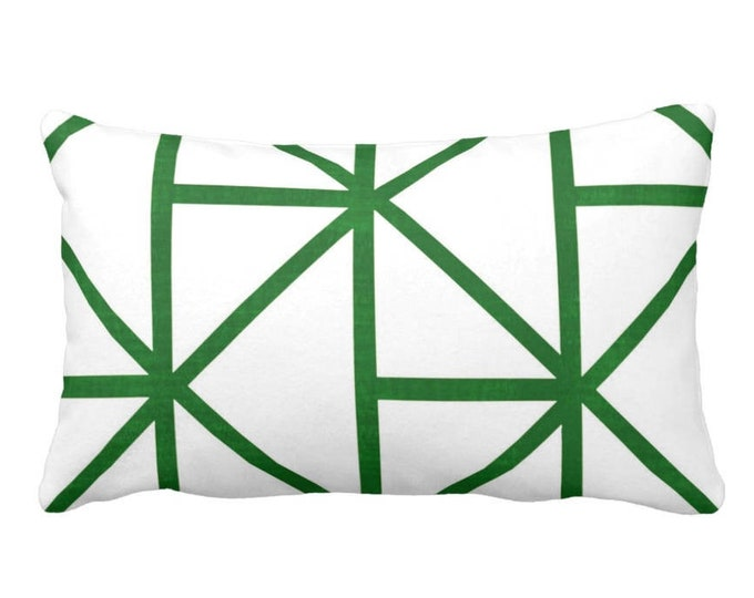 """OUTDOOR Geometric Throw Pillow or Cover, Emerald/White 14 x 20"""" Lumbar Pillows or Covers, Deep Green Modern/Geo/Lines/Stripes/Lattice"""