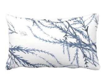 """OUTDOOR Watercolor Branches Throw Pillow or Cover, Navy Blue/White Print 14 x 20"""" Lumbar Pillows/Covers, Leaves/Botanical/Floral Pattern"""