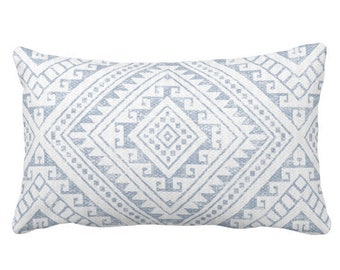 "OUTDOOR Diamond Geo Throw Pillow or Cover, Chambray 14 x 20"" Lumbar Pillows/Covers, Light Blue/White Geometric/Batik/Geo/Tribal Print"