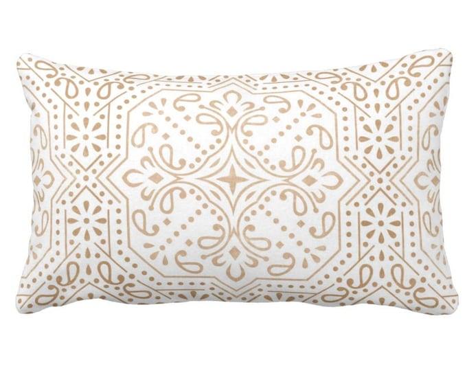 "Tile Print Throw Pillow or Cover, Sand 14 x 20"" Lumbar Pillows or Covers, Light Beige/Flax/White Geometric/Batik/Trellis Pattern"