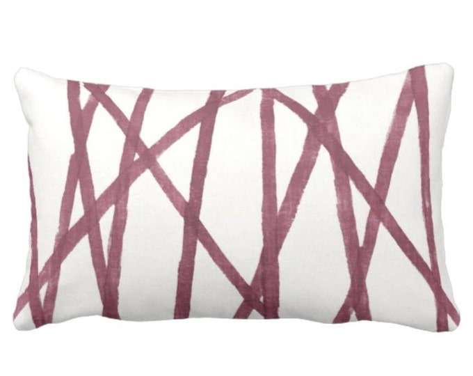 "Hand-Painted Lines Throw Pillow or Cover, Plum/White 14 x 20"" Lumbar Pillows or Covers, Abstract/Channels/Stripes Burgundy Print"