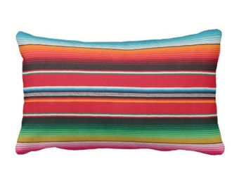 "OUTDOOR - READY 2 SHIP Serape Stripe Throw Pillow Cover Only, Printed Mexican Blanket 14 x 20"" Lumbar Covers, Colorful/Stripes/Striped"