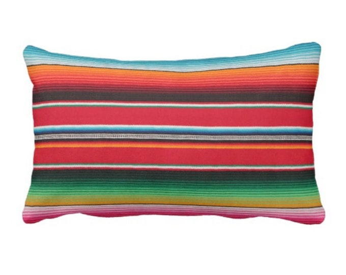 """OUTDOOR - READY 2 SHIP Serape Stripe Throw Pillow Cover Only, Printed Mexican Blanket 14 x 20"""" Lumbar Covers, Colorful/Stripes/Striped"""