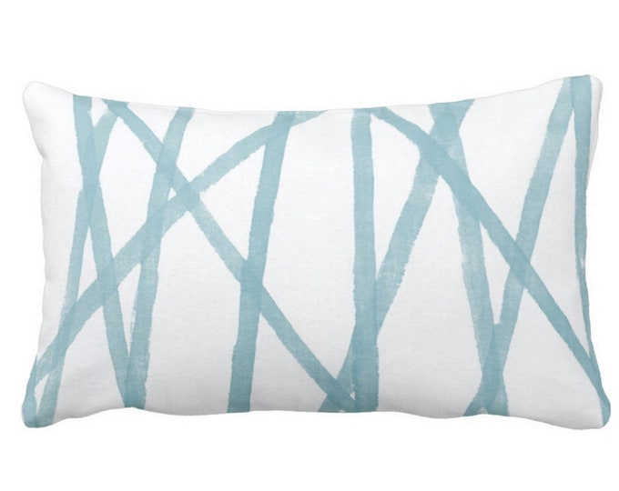 """Hand-Painted Lines Throw Pillow or Cover, Sky Blue/White 14 x 20"""" Lumbar Pillows or Covers, Abstract Print, Aqua Channels/Stripes"""