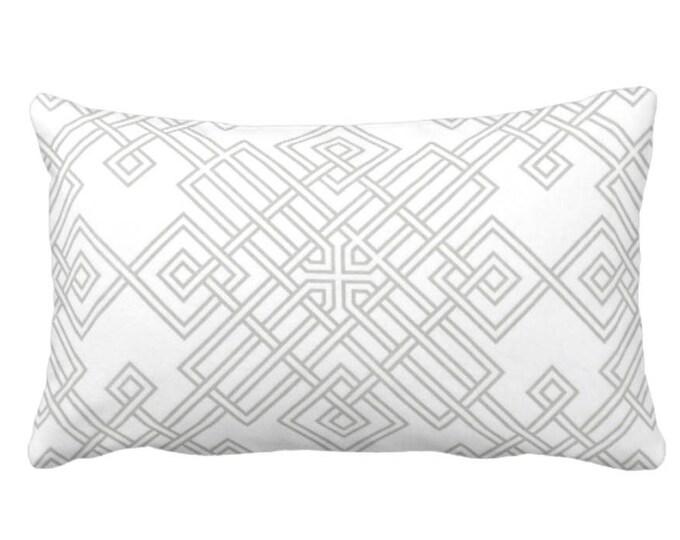 "OUTDOOR Interlocking Geo Throw Pillow or Cover, Gray/White 14 x 20"" Lumbar Pillows/Covers, Grey Geometric/Tile/Trellis Print/Pattern"