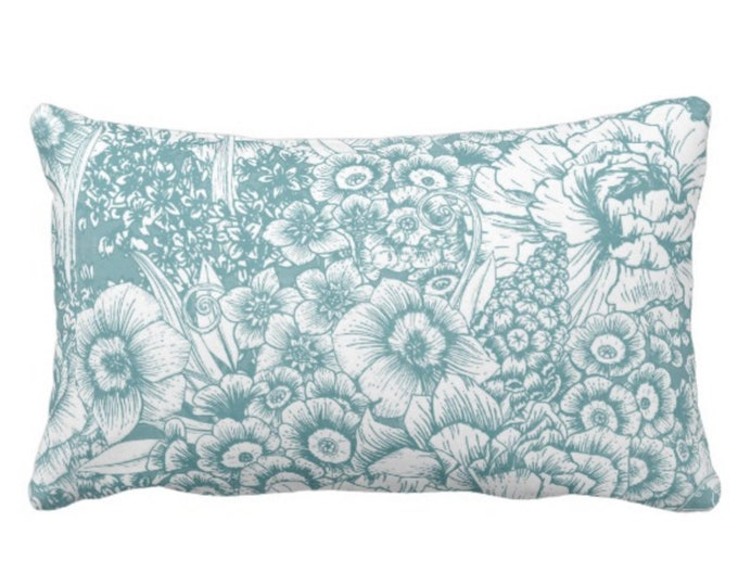 """OUTDOOR Retro Floral Throw Pillow or Cover, Soft Teal/White 14 x 20"""" Lumbar Pillows/Covers, Dusty Blue/Green, Flowers/Botanical/Print"""