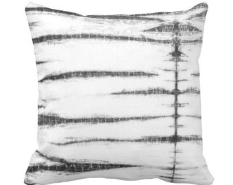 """OUTDOOR Subtle Stripe Throw Pillow or Cover, Black/Gray/White 14, 16, 18, 20 or 26"""" Sq Pillows/Covers, Shibori/Lines/Striped/Tribal Print"""