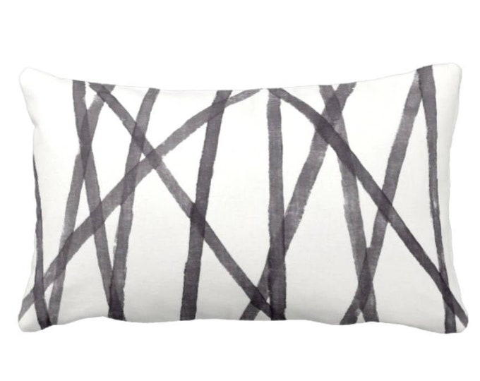 "Hand Painted Lines Throw Pillow or Cover, Charcoal/White 14 x 20"" Lumbar Pillows or Covers, Paint Print, Channels/Stripes, Black"