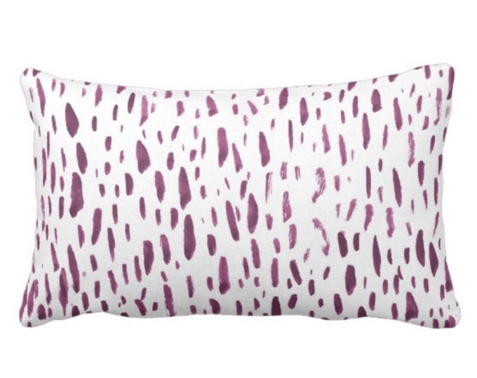 """OUTDOOR Hand-Painted Dashes Throw Pillow or Cover, Plum/White 14 x 20"""" Lumbar Pillows or Covers Modern Purple Dots/Dash/Splatter Print"""