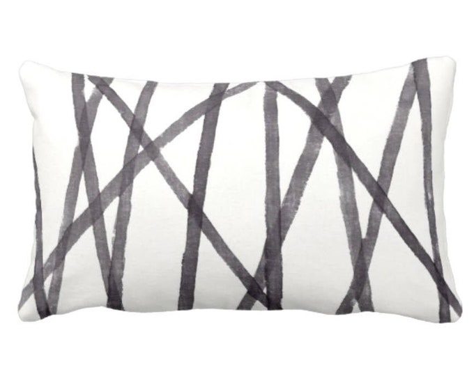 "OUTDOOR Hand Painted Lines Throw Pillow or Cover, Charcoal/White 14 x 20"" Lumbar Pillows or Covers, Paint Print, Channels/Stripes, Black"