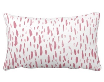 "Hand-Painted Dashes Throw Pillow or Cover, Millenial Pink/White 14 x 20"" Lumbar Pillows or Covers, Abstract Dot/Dots/Spots Print"