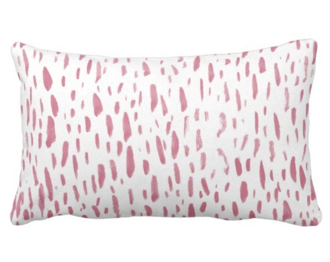 """Hand-Painted Dashes Throw Pillow or Cover, Millenial Pink/White 14 x 20"""" Lumbar Pillows or Covers, Abstract Dot/Dots/Spots Print"""
