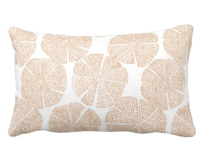 "OUTDOOR Block Print Geo Throw Pillow or Cover, Adobe/White 14 x 20"" Lumbar Pillows/Covers, Orange/Tan Block/Batik/Medallion Print"