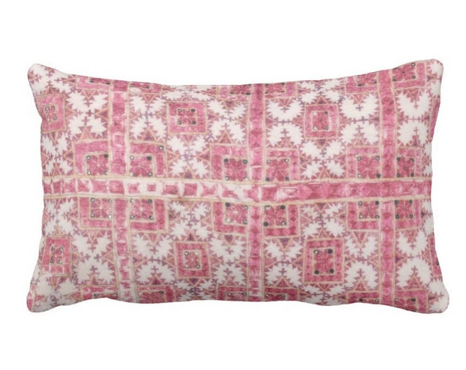 """OUTDOOR Chinese Wedding Blanket Printed Throw Pillow or Cover, Pink/Coral 14 x 20"""" Lumbar Pillows or Covers, Vintage Miao Embroidery Print"""