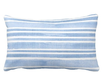 """OUTDOOR Watercolor Stripe Throw Pillow or Cover, French Blue/White 14 x 21"""" Lumbar Pillows/Covers, Stripes/Lines/Hand-Painted Print"""