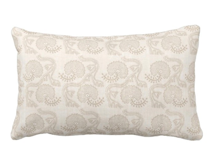 """OUTDOOR Block Print Floral Throw Pillow or Cover, Cream 14 x 20"""" Lumbar Pillows or Covers, Off-White/Beige Flower/Batik/Boho Pattern"""