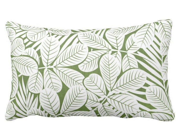 "Modern Leaves Throw Pillow or Cover, Kale & White Print 20 x 14"" Lumbar Pillows or Covers, Dark Green Retro Tropical Print/Pattern"