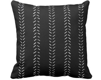 "OUTDOOR Mud Cloth Printed Throw Pillow or Cover, Black/Off-White 14, 16, 18, 20, 26"" Sq Pillows/Covers, Mudcloth/Geometric/Arrows/Tribal"