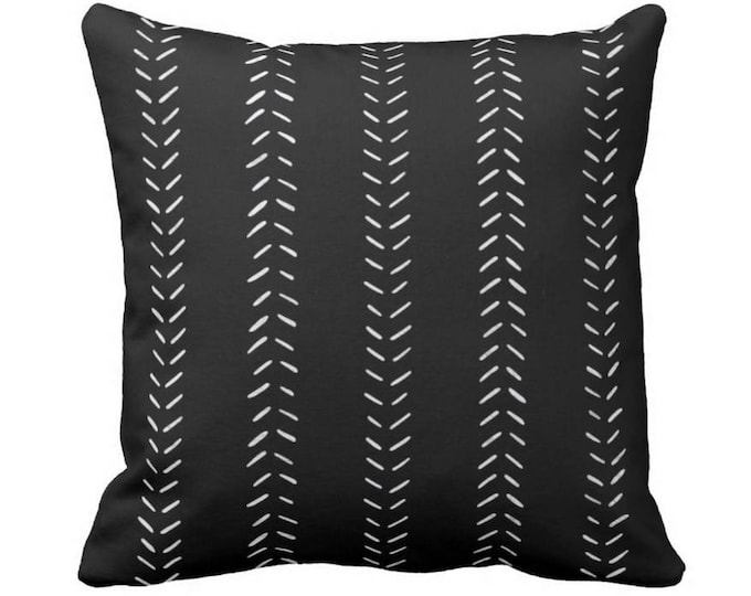 """OUTDOOR Mud Cloth Print Throw Pillow or Cover, Black/Off-White 14, 16, 18, 20, 26"""" Sq Pillows/Covers, Mudcloth/Geometric/Arrows/Tribal"""