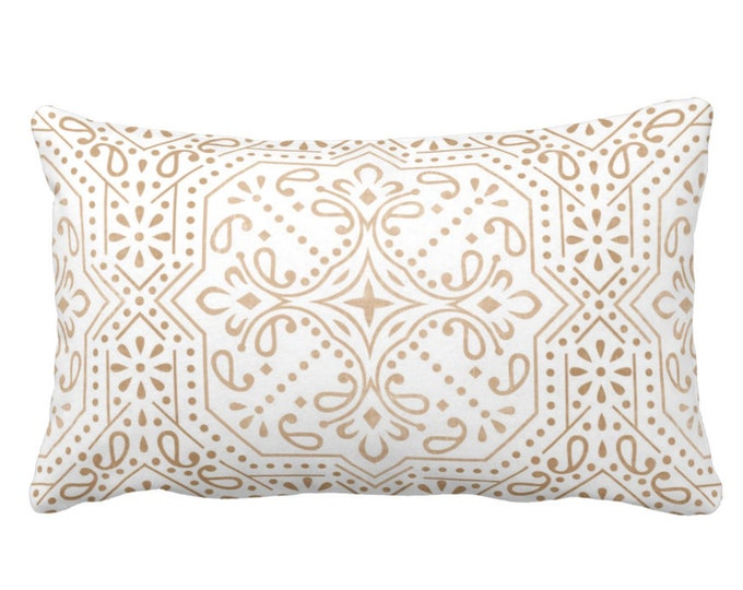 "OUTDOOR Tile Print Throw Pillow or Cover, Sand 14 x 20"" Lumbar Pillows/Covers, Light Beige/Flax/White Geometric/Batik/Trellis Pattern"