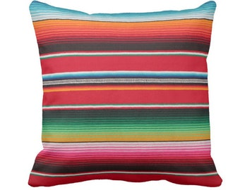 """Serape Stripe Throw Pillow or Cover, Printed Mexican Blanket/Rug 14, 16, 18, 20, 26"""" Sq Pillows or Covers, Rainbow/Colorful/Stripes/Striped"""