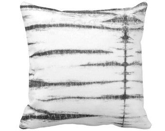 "Subtle Stripe Throw Pillow or Cover, Black, Gray & White Print 14, 16, 18, 20 or 26"" Sq Printed Pillows or Covers, Shibori/Moroccan"