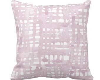 "Watercolor Grid Throw Pillow or Cover, Mineral Mauve/White Pattern 14, 16, 18, 20 or 26"" Square Pillows or Covers, Iced/Dusty Pink/Purple"