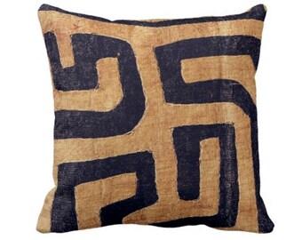 "Outdoor PRINTED - READY 2 SHIP Kuba Cloth Throw Pillow Cover, Tan/Black 18"" Sq Pillow Covers, Geometric/African/Tribal/Boho/Design"