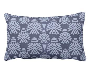 "OUTDOOR Block Print African Mask Throw Pillow or Cover, Navy/Indigo 14 x 20"" Lumbar Pillows/Covers Dark Blue Blockprint/Tribal/Boho Pattern"