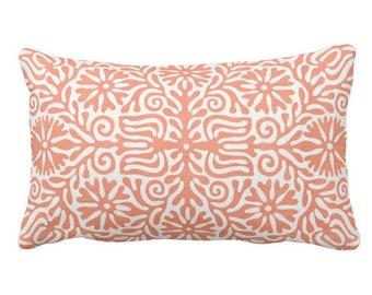 "OUTDOOR Folk Floral Throw Pillow or Cover, Coral 14 x 20"" Lumbar Pillows/Covers, Melon/Orange/White, Flowers/Boho/Bohemian/Tribal/Geo"