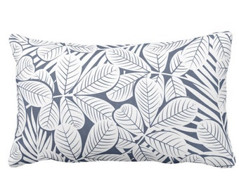 "SALE/READY 2 SHIP Modern Leaves Throw Pillow Cover, Navy & White Print 20 x 14"" Lumbar, Dark/Deep Blue Retro Tropical Print/Pattern"
