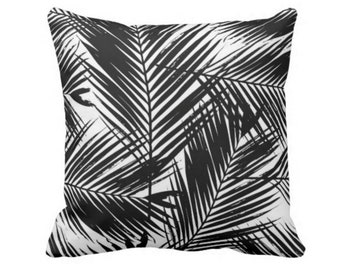 "OUTDOOR Palm Print Throw Pillow or Cover, Black & White 14, 16, 18, 20, 24 or 26"" Pillows or Covers, Modern Floral/Nature Pattern"