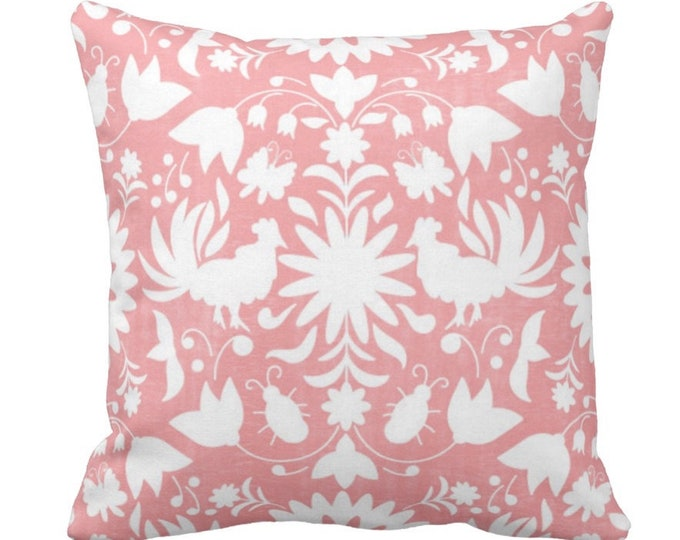 "Otomi Throw Pillow or Cover, Light Pink/White 14, 16, 18, 20 or 26"" Sq Pillows or Covers, Mexican/Boho/Floral/Animals/Nature Print"