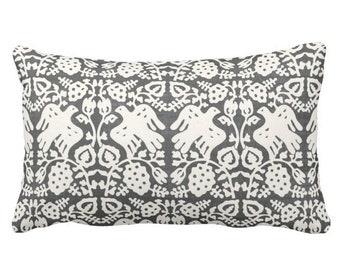 """OUTDOOR Block Print Bird Floral Throw Pillow or Cover, Charcoal/Ivory 14 x 20"""" Lumbar Pillows or Covers, Blockprint/Batik/Boho Print"""