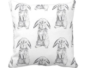 "Bunny Print Throw Pillow or Cover, Gray/White 14, 16, 18, 20"" Sq Pillows/Covers, Modern/Gender Neutral Nursery Animals/Rabbit/Cute/Boho"