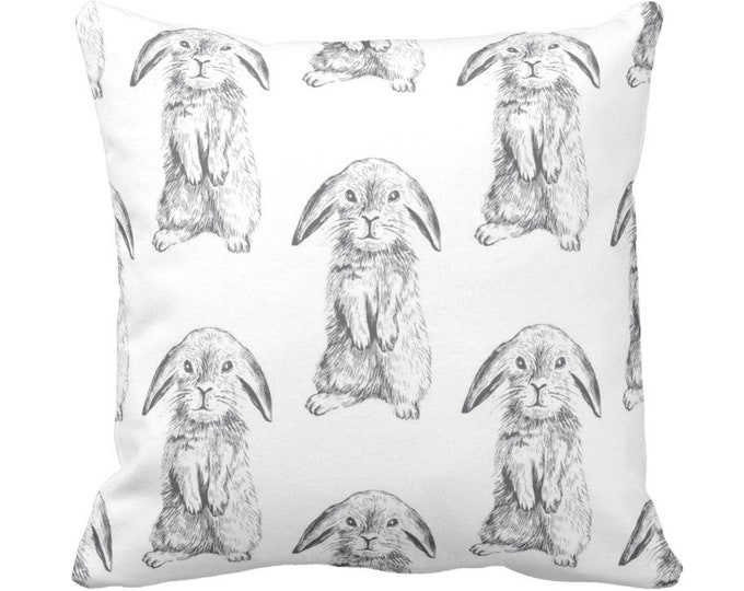 "Bunny Print Throw Pillow or Cover, Gray/White 14, 16, 18, 20"" Sq Pillows/Covers, Modern/Gender Neutral Nursery Animals/Rabbit/Cute/Boho"