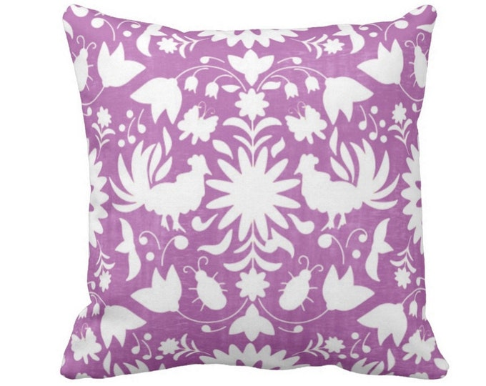 """OUTDOOR Otomi Throw Pillow or Cover, Purple/White 14, 16, 18, 20, 26"""" Sq Pillows/Covers, Bright Flower/Boho/Floral/Animals/Nature Print"""