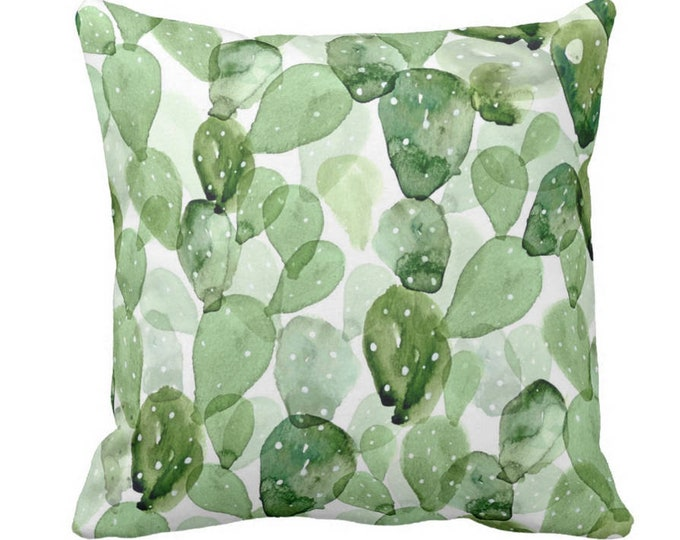 "Watercolor Cactus Throw Pillow or Cover, Green & White 14, 16, 18, 20 or 26"" Sq Pillows or Covers, Succulent/Southwes, Olive/Sage"