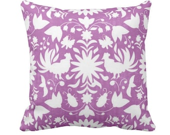 """Otomi Throw Pillow or Cover, Purple/White 14, 16, 18, 20, 26"""" Sq Pillows or Covers, Bright Mexican/Boho/Floral/Animals/Nature Print"""