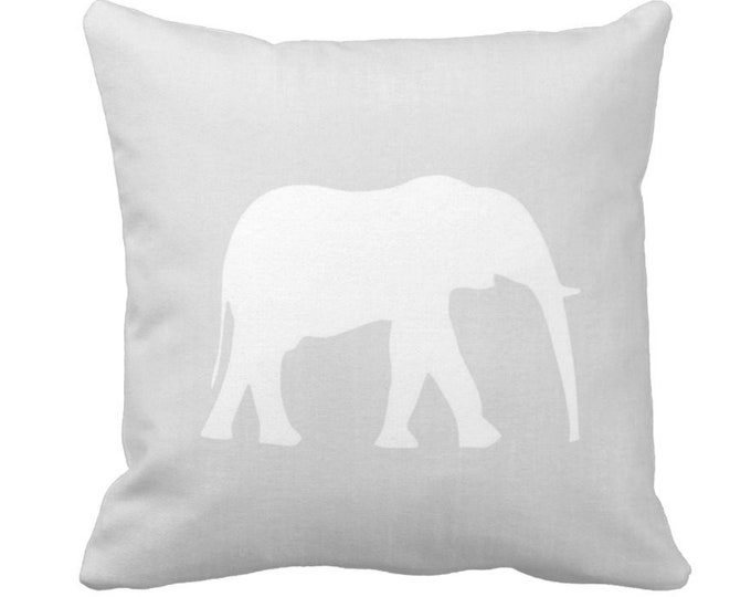 "Elephant Silhouette Throw Pillow or Cover, Gray/White 14, 16, 18, 20"" Sq Pillows/Covers, Light Grey Modern Neutral Nursery/Safari/Jungle"