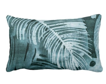 """OUTDOOR Tropical Leaves Print Throw Pillow or Cover, Teal 14 x 20"""" Lumbar Pillows/Covers, Batik/Watercolor Effect Dusty Blue/Green/Turquoise"""