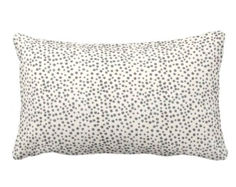 "OUTDOOR Confetti Dots Throw Pillow or Cover, Charcoal & Cream Print 14 x 20"" Lumbar Pillows or Covers, Black/Ebony/Off-White Scatter Dot"