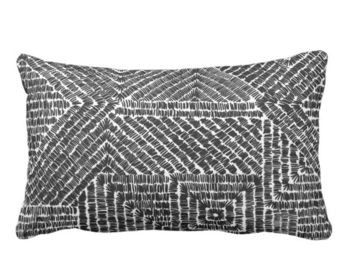 "OUTDOOR Tribal Geo Throw Pillow or Cover, Black 1& White 14 x 20"" Lumbar Pillows/Covers, Scratch Geometric/Batik/Geo/Diamond Pattern/Print"