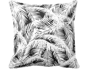 """OUTDOOR Palm Leaves Throw Pillow or Cover, Black & White Print 14, 16, 18, 20 or 26"""" Sq Pillows or Covers, Tropical/Botanic Pattern"""