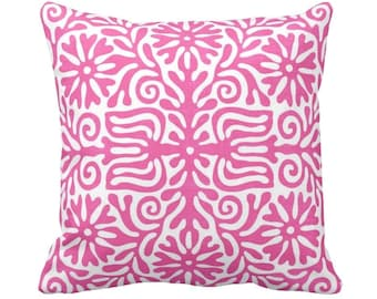 "Folk Floral Throw Pillow or Cover, Bright Pink/White 14, 16, 18, 20 or 26"" Sq Pillows or Covers, Colorful Mexican/Boho/Bohemian/Tribal"