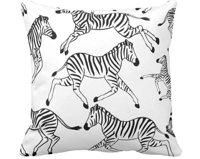 "Zebra Throw Pillows or Covers, Black/White 14, 16, 18, 20"" Sq Covers/Pillows, Zebras/Jungle/Safari/Animal/Animals/Stripe Print"