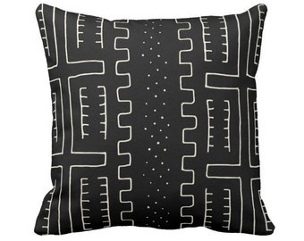 """OUTDOOR Mud Cloth Throw Pillow or Cover, Black/Off-White 14, 16, 18, 20, 26"""" Sq Pillows/Covers, Mudcloth/Boho/Tribal/African Print/Pattern"""
